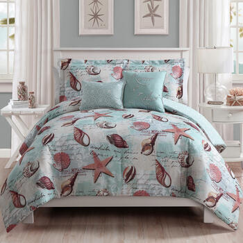 """Renew and Relax"" Coastal Shell Reversible Queen Comforter Set, 5-Piece view 1"