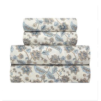 The Grainhouse™ White/Tan Flowers Cotton Sheet Set