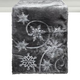 "72"" Gray Sequin Snowflake Embellished Table Runner"