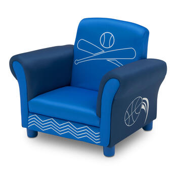 Sports Theme Blue Upholstered Children's Chair view 2
