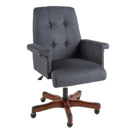 Dark Blue Tufted Upholstery Rolling Office Chair