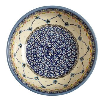 Polish Pottery Blue Linked Florals Ceramic Mixing Bowl view 2