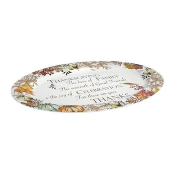 "14""x20"" ""We Give Thanks"" Oval Serving Platter"