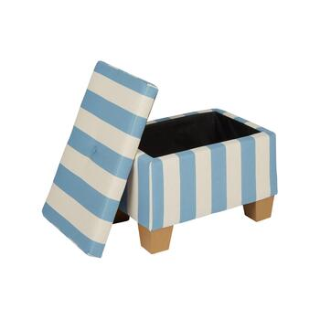 Light Blue Coastal Stripes Storage Ottoman view 2