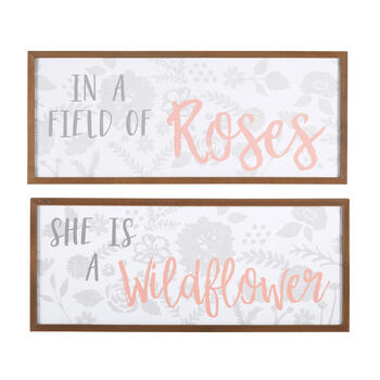 "13""x31"" ""She Is a Wildflower"" Wall Decor, Set of 2 view 1"