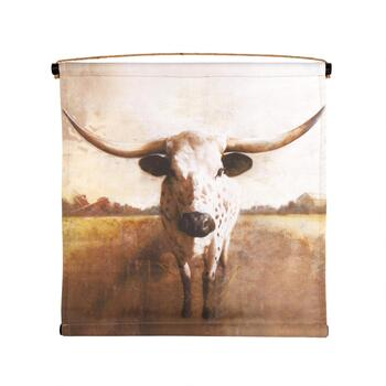 "24"" Long Horn Bull Tapestry Wall Decor"