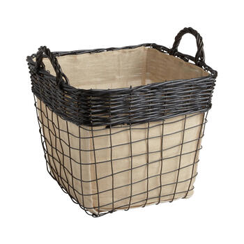 The Grainhouse™ Willow Metal Wire Lined Storage Basket view 1