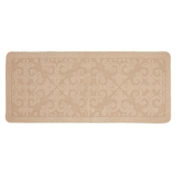 Tan Damask Textured Accent Rug