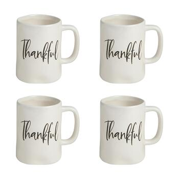"The Grainhouse™ 8-Oz. ""Thankful"" Ceramic Mugs, Set of 4"