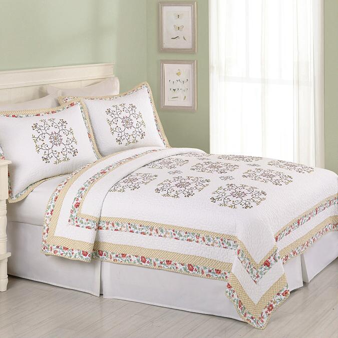 Twin Hollis Embroidered Cotton Quilt