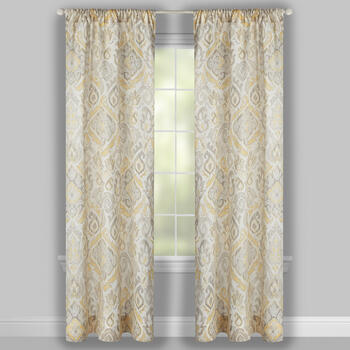 Bridgette Gray/Yellow Paisley Window Curtains, Set of 2 view 2