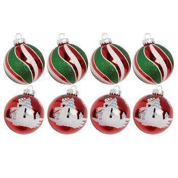 4-Pack Snowman and Swirled Stripe Ornaments, Set of 2