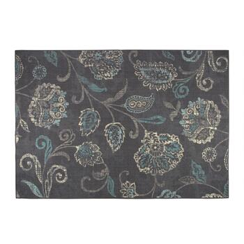 Dark Gray/Teal Floral Area Rug
