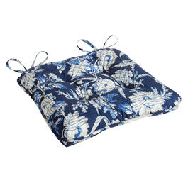 Waverly® Navy/White Floral Quilted Indoor/Outdoor Seat Pad view 1