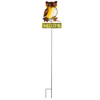 "42"" ""Welcome"" Autumn Owl Fused Glass Yard Stake"