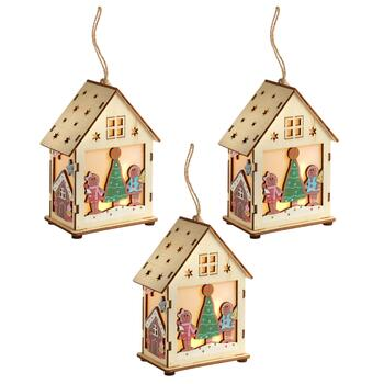 Laser-Cut LED Gingerbread House Ornaments, Set of 3
