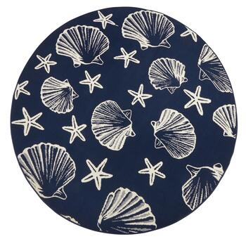Midnight Blue Seashells All-Weather Area Rug view 2