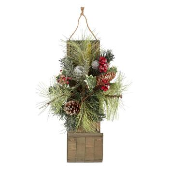 "21"" Pinecones and Berries Sleigh Wall Decor"