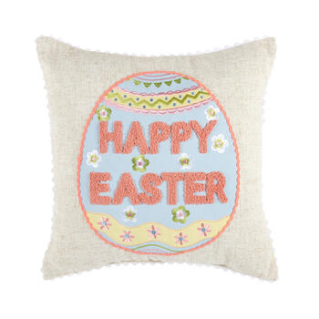 """Happy Easter"" Egg Square Throw Pillow view 1"