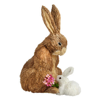 White Mom and Baby Sisal Bunny Decor view 1