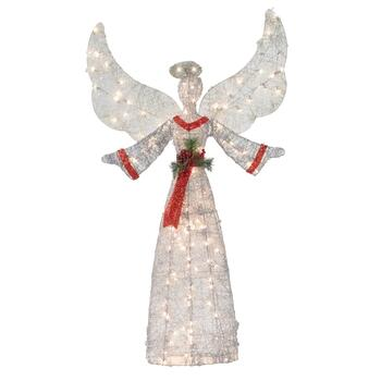 "57"" Red Sash Indoor/Outdoor Lighted Christmas Angel"