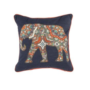 Naya Blue/Coral Elephant Square Throw Pillow