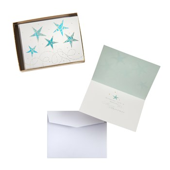 Blue Star Foil Christmas Cards, 30-Count