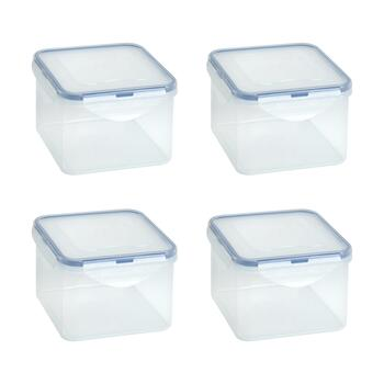 42-Oz. Locking Lid Square Plastic Storage Containers, Set of 4