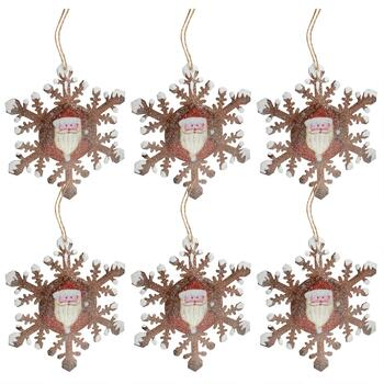Painted Santa Glittery Snowflake Ornaments, Set of 6