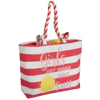 "17.75"" ""Girls Just Wanna Have Sun"" Striped Cotton Tote Bag"