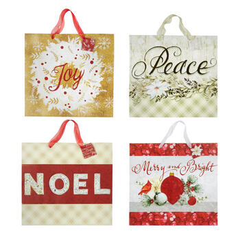 """Peace"" and ""Joy"" Large Deluxe Gift Bags, Set of 4 view 1"