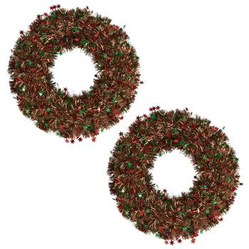 "20"" Green/Red Tinsel Wreaths with Stars, Set of 2"