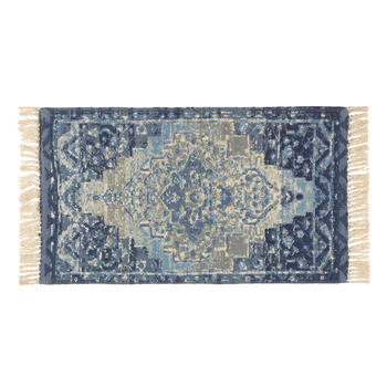 "27""x45"" Blue Antique Medallion Cotton Accent Rug view 1"