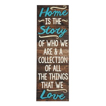 "12""x36"" ""Home Is the Story"" Cutout Wood Plank Wall Decor"