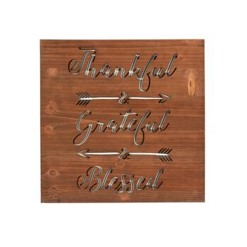 "16"" ""Thankful & Grateful & Blessed"" Laser Cut Wood Wall Decor"