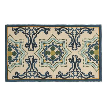 Blue/Green Floral Medallion Accent Rug