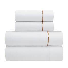 Embroidered Stripe 300-Thread Count Cotton Sateen Sheet Set, 4-Piece