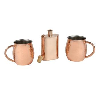 Hammered Metal Moscow Mule Mug and Flask Set, 3-Piece