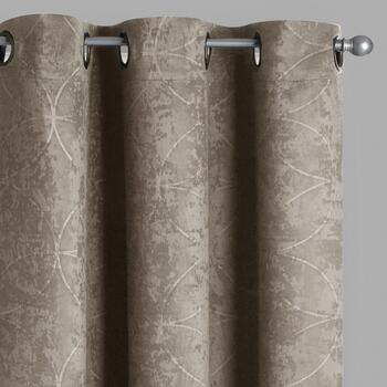 Embosssed Geo Print Room-Darkening Window Curtains, Set of 2