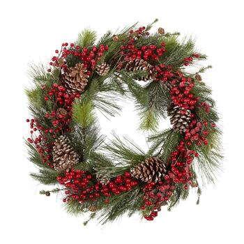 "32"" Snowy Pinecone and Berries Artificial Wreath"