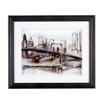 "16""x19"" Layered Bridge Framed Wall Art"