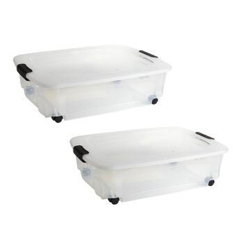 36-Quart Clear Rolling Under-Bed Storage Containers, 2-Pack