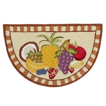 "19"" x 32"" Assorted Fruits Hand-Hooked Slice Floor Mat"