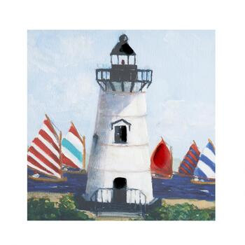 "30"" Red/Blue/White Lighthouse Canvas Wall Art"