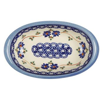 Polish Pottery Blue Floral Chain Oval Vegetable Bowl view 2