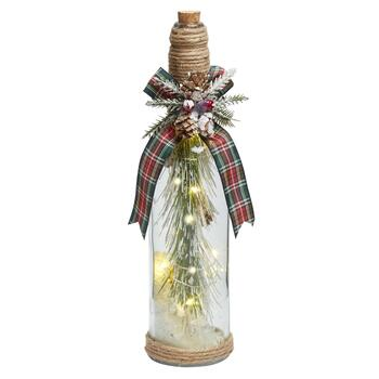 "12"" Snowy Pinecones LED Tree Bottle Cloche"