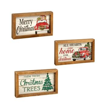 "4.75""x8.25"" ""Merry Christmas"" Wood Frame Wall Signs, Set of 3"