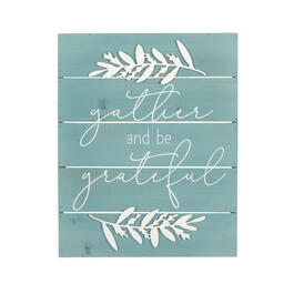 "16""x20"" ""Gather and Be Grateful"" Blue Cutout Wood Wall Decor view 1"