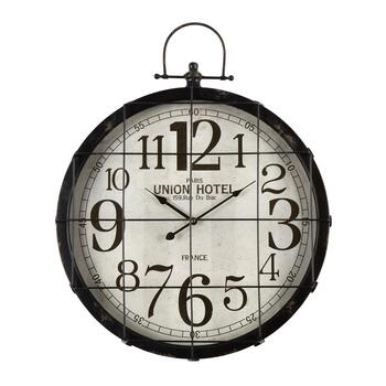 "23""x29"" ""Union Hotel"" Metal Cage Round Wall Clock"