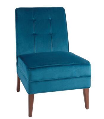 Blue Velvet Tufted Slipper Chair